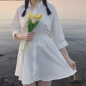 【お取り寄せ商品】white shirt one-piece 6423
