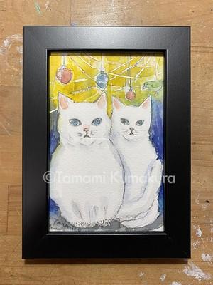 原画「白猫とオーナメント」ポストカード原画
