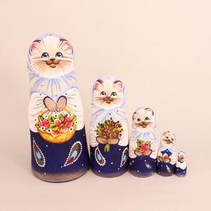 オレーシャ作 猫マトリョーシカ 5個型②