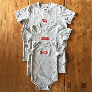 【販売終了】3人姉妹兄弟でお揃い♪ロンパース+Tシャツ3枚組ギフトセット/Little×Middle×Big#出産祝い
