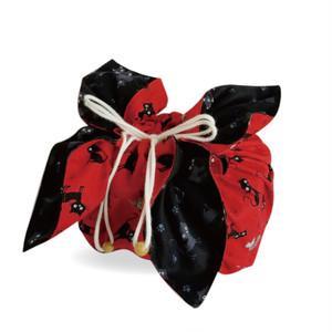 Мサイズ お弁当袋になっちゃう!!ランチクロス☆黒猫レッド(43x43㎝)
