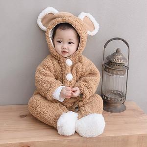 【ベビー服】新作韓国系長袖毛糸フード付き無地カバーオール・ロンパース23542574