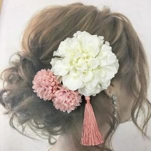 4点セット  ホワイトダリア  髪飾り