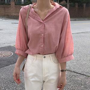 【tops】合わせやすいカジュアル薄い無地シンプルシャツ