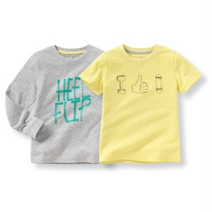 La Redoute 長袖半袖Tシャツ 2枚セット グレー+イエロー