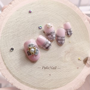 Pukeネイル [No.174] 3Dチェック花・ピンク・デート・出かけ・等♡ジェイルネイルチップ