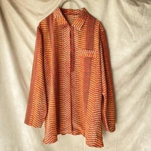 80s retro design blouse / オレンジレトロブラウス