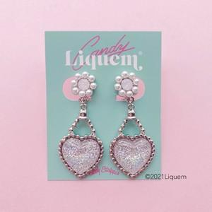 Candy Stripper × Liquem / HEART PERFUME EARRINGS(オーロラSLV)