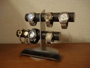 ブラック6本掛け腕時計スタンド ロングトレイタイプ No.140903