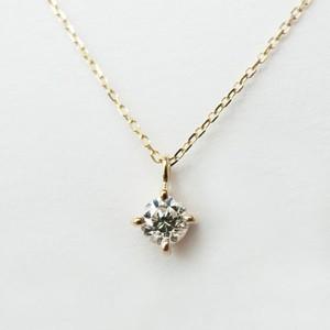 K18 シンプルな0.1ctダイヤモンドネックレス