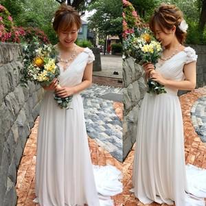 花飾りシフォンドレスR7807M
