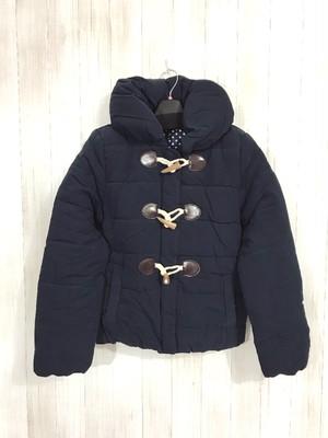 ダッフルタイプのショート丈中綿ジャケット ネイビー