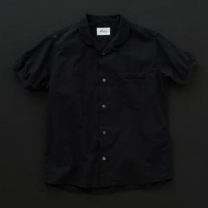 オープンカラーシャツ(丸衿) 黒×黒+P