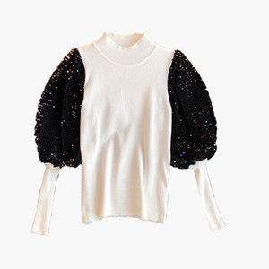 RIMI&Co.SELECT スパンコールパフスリーブ ニットトップス   2Color <Sequin Puffy Sleeve Knit Tops>