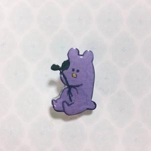 プラ板ブローチ【紫ネズミ】