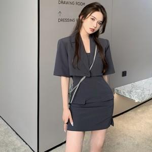 【セット】「単品注文」ファッション半袖折り襟ショート丈トップス+キャミワンピース45498530