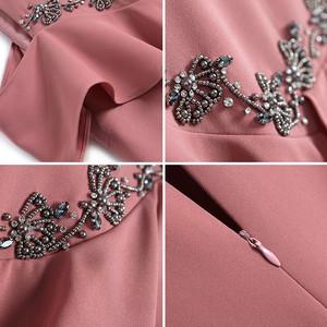 【予約】フリルショルダービジューワンピースドレス
