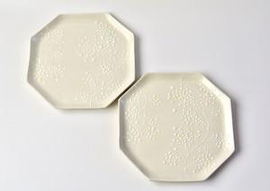 ミモザ白八角皿(20cm)