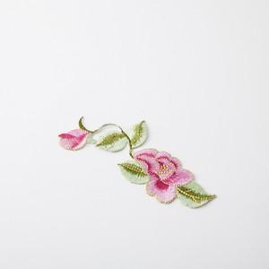 中華アップリケ 花・つた ピンク