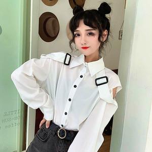 【トップス】透かし彫りベルトファッション通勤長袖シャツ29995222