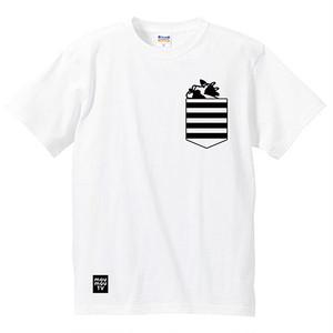 フェイクポケットTシャツ(白)【もうもうTV】