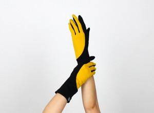 % PERCENT ジャージー 手袋(ブラック・イエロー)女性用・ウール100%・スマホ対応・縫製手袋