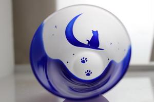 三日月ネコと星空のおちょこ(青)