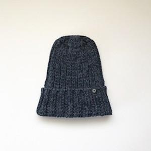 手横編機で作った ローゲージ ニット帽(ネイビー)