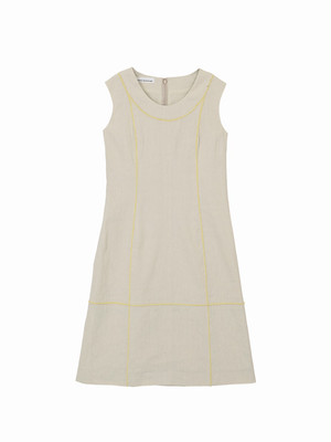 Colour line switched dress  / natural × yellow / S16DR01