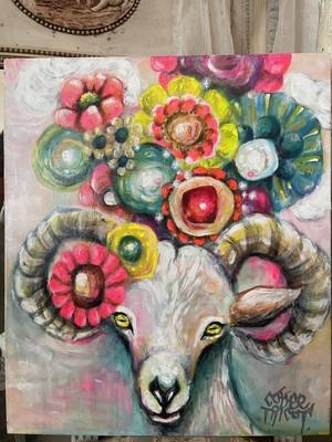 珈琲鳥子 「ヘッドドレスの山羊」 絵画