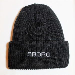 5BORO NYC EXT. LOGO Beanie BLACK ニットキャップ NEWYORK