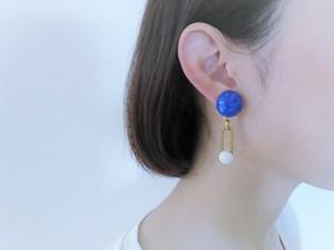 ブルーマーブルイヤリング vintage earring cabochon <ER-blcb1>