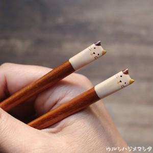 【18cm・子供用】拭き漆の箸(三毛猫)/URUSHI CHOPSTICKS(CALICO CAT)