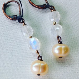MoonStone&Pearl *earings