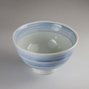 紺千筋飯碗 中 [ 11.3 x 6.6cm ] 【黒と白】