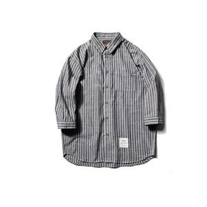 送料無料メンズきれい目カジュアルグレー七分丈袖ストライプシャツ