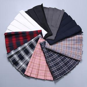 【ボトムス】学園風定番春夏切り替え膝上チェック柄プリーツミニスカート