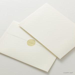 コットン封筒 ナチュラル(洋1)& エンボスシール/10枚セット