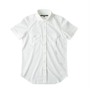 DJS-003 decollouomo メンズパイロットシャツ 半袖 PUREWHITE - ピュアホワイト
