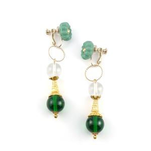 Import glass_【2way】 Cushion_Earrings