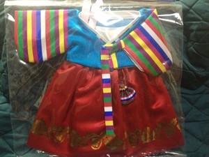 お人形用 チマ・チョゴリ (水色×赤)