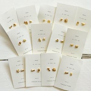 Asst gold-plated pierced earrings