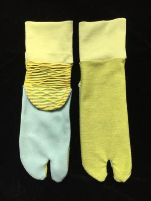 足袋靴下 黄緑タオル地・黄透け素材