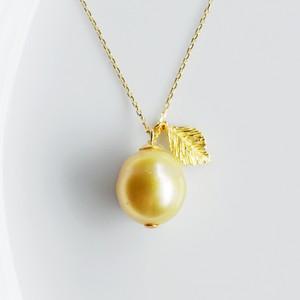 K18 黄金色の果実みたいなゴールデンパールネックレス
