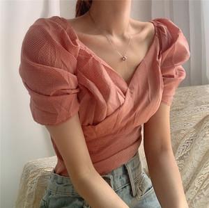 【トップス】韓国CHIC少女系レトロVネック収束着やせ見えショートシャツ