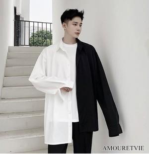 シャツ 長袖 アシンメトリー 個性 モノトーン バイカラー カジュアル 非対称 メンズ ストリート オルチャン 韓国ファッション 1608