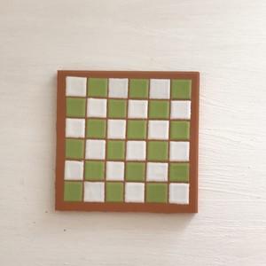 スペインタイル 10cm ×10cm チェック(白×グリーン)