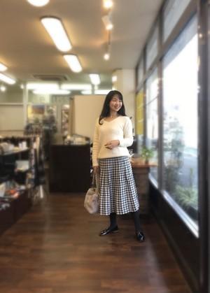 千鳥格子 ニットスカート フリーサイズ