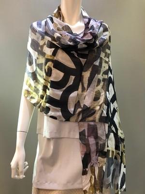 LARIOSETA イタリア製 シルバーラメ入りプリントスカーフ OKX37/21523