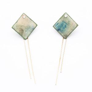 """Colorful"" japanesepaper pierced earrings  ◼︎green blue"